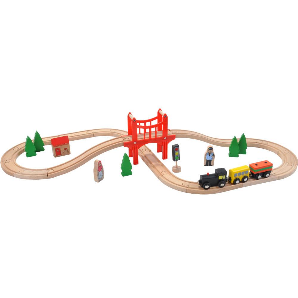 37 delige houten treinset.