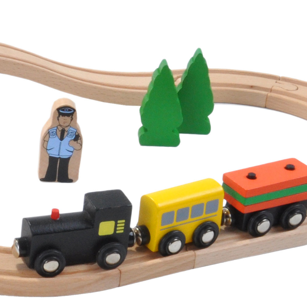 Zwarte trein met 2 wagons.