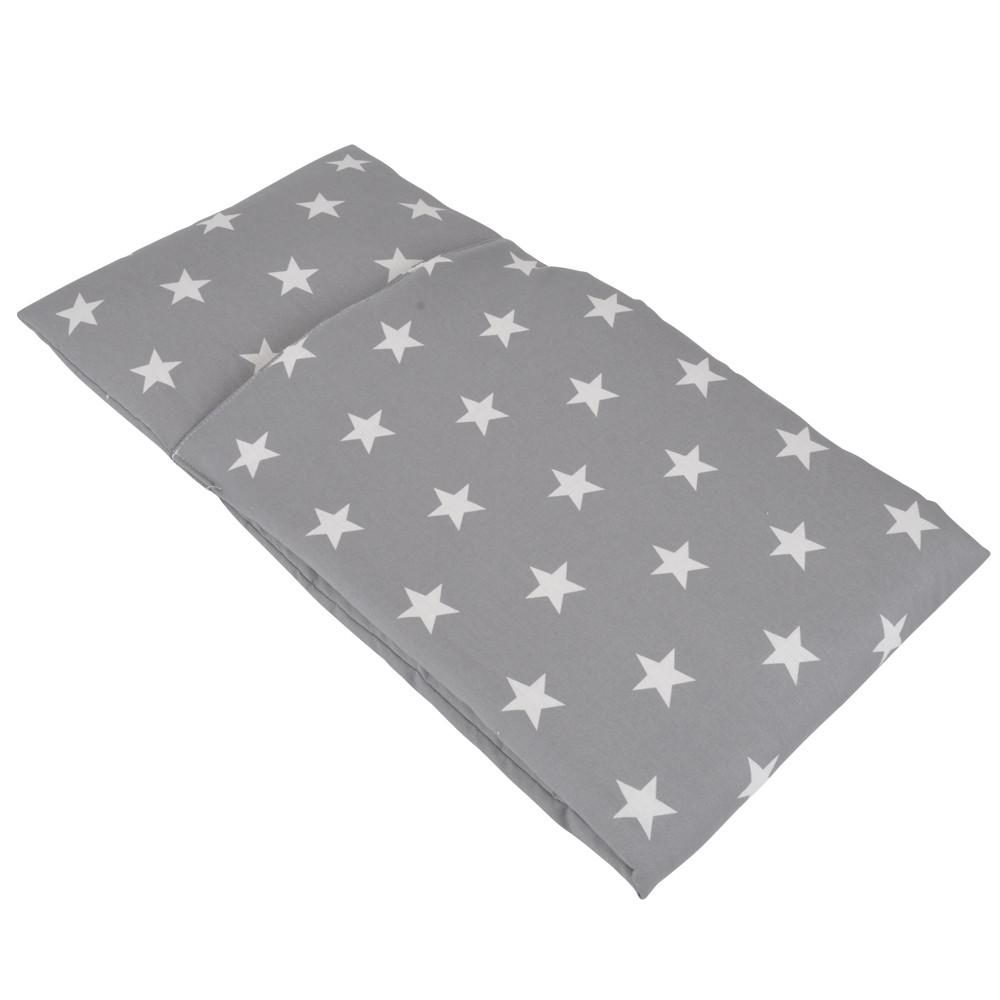Poppendekentje grijs met witte ster.