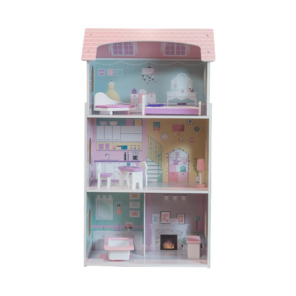 Houten poppenhuis met meubeltjes.