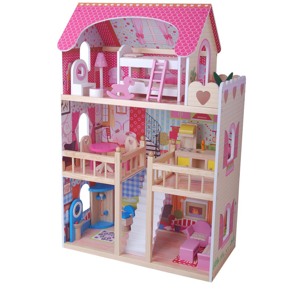 Houten poppenhuis met 17-delige meubelset.