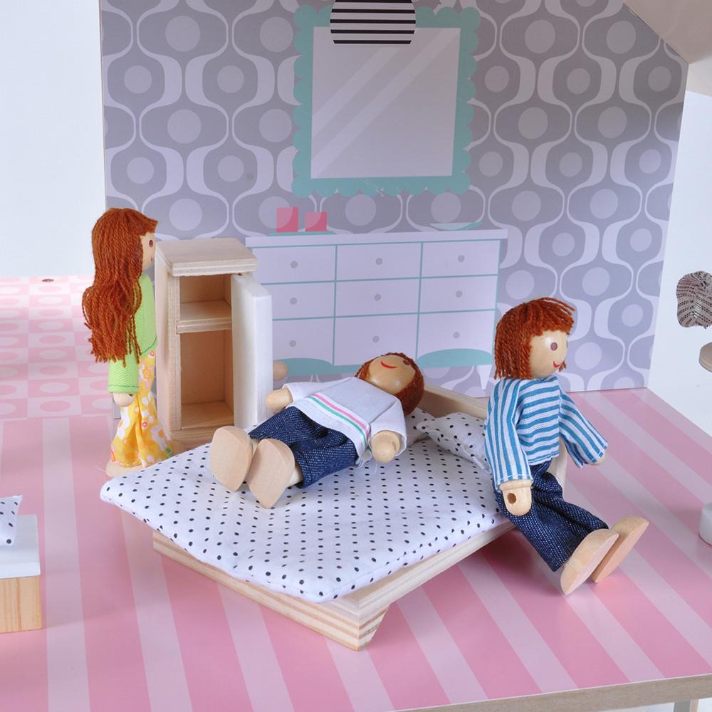 Gemeubileerde slaapkamer.