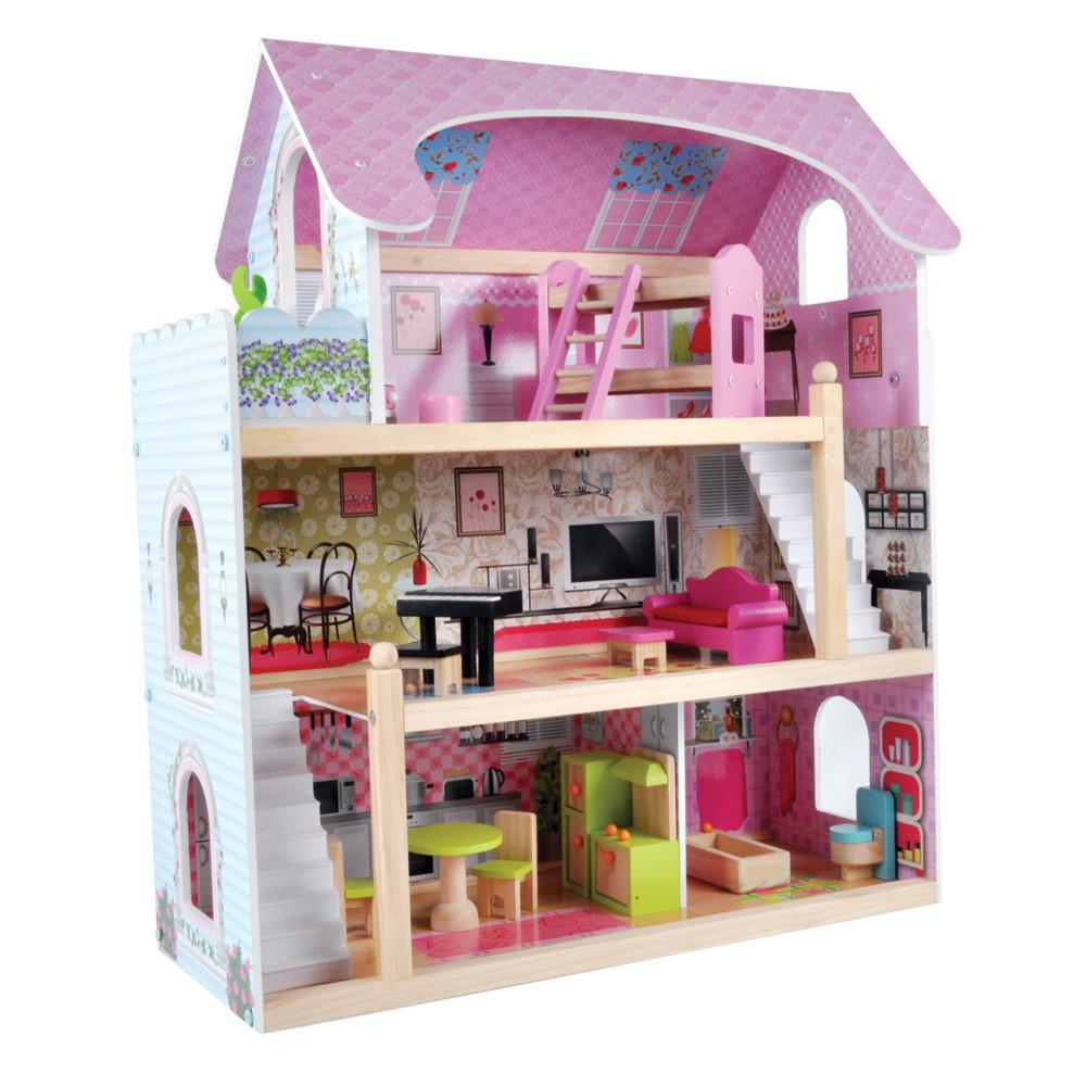 Houten poppenhuis met 15-delige meubelset.